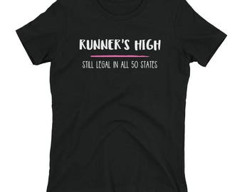 Runner's High Legal All 50 States Funny Runner Running Run Athletic Sports Marathon Training Coach Track Field Sprinting Jogging Women's Shi