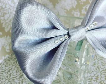 Silver formal dog bow