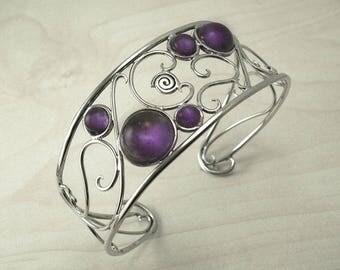 Silver cuff bracelet,Amethyst silver bracelet,Antique cuff bracelet,silver wire bracelet,Vintage silver bracelet,antique silver bracelet
