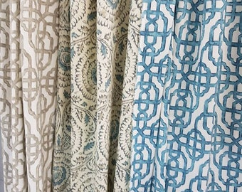 Lined Curtain Panel in Lacefield designer fabric Window treatment