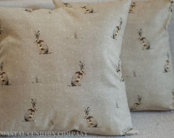 """Vintage Style Hare Cushion Cover. 17""""x17"""" Square cushion cover. Bunny rabbit design on natural linen coloured background. Handmade, Cotton."""