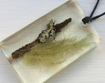 Twig with Lichen and Moss Necklace