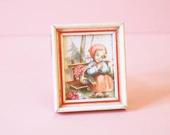 Tiny Framed Print Of A Sweet Little Swedish Girl - Kitsch Decor - Vintage Art