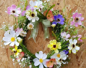 Spring wreath, flower wreath, floral wreath, country decor, spring decor, rustic decor, country charm, wildflowers, butterfly,