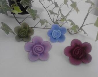 KIT earrings adjustable multicolor felt flower
