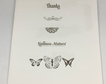 Kindness Matters Rubber Stamp set by Stampin Up / Scrapbooking / Card Making Supplies / Art and Crafts / Thanks / Butterflies / Lace