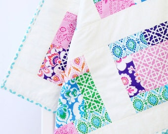 Crib quilt girl floral, baby quilt modern, patchwork baby quilt, girl crib quilt, pink, purple, blue, teal, homemade baby quilt