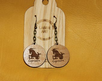 Set of Handmade Laser Engraved Wooden Capricorn Earrings and Necklace