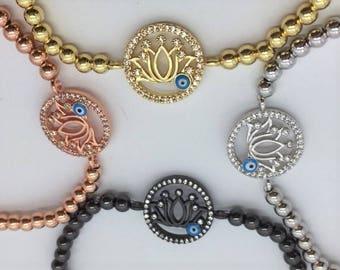 Flower lotus bracelet beads / FREE USA SHIPPING