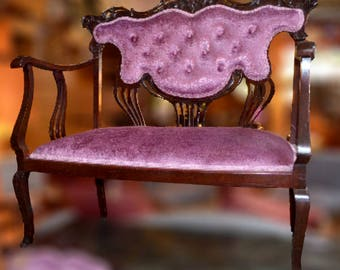 Vintage Velvet Bench and Chair Set