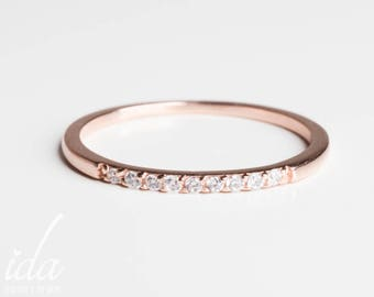 14k rose gold wedding band diamond eternity band diamond wedding band rings for - Rose Gold Wedding Rings For Women