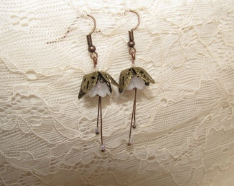 Snowdrop flower earrings white and copper