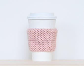 Pink knit cozy, knit mug sleeve, pink mug cozy, tea cozy, mug warmer, cup warmer, pink knit coffee cozy, pink cozy