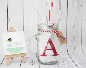 Glitter mason jar, personalised mason jar mug, children's mug, christmas gift, xmas mug