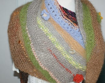 (6) multicolor asymmetric shawl scarf