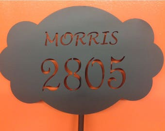Custom Metal Address Sign with Stake