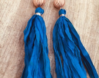 Deep turquoise sari silk tassel earrings with rose gold, Art Deco inspired acrylic beads, holiday earrings