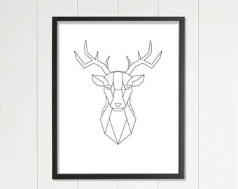 raindeer, minimalistic design, geometric art, downloadable image, printable art, wall art, poster print, prints, jpg file, geometric art