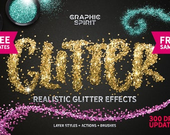Glamour Glitter Shine & Sparkle Effect Photoshop Styles for Text Lettering with Brushes for Any Graphics