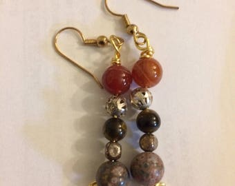 Beaded and Wire Wrapped Stone Earrings