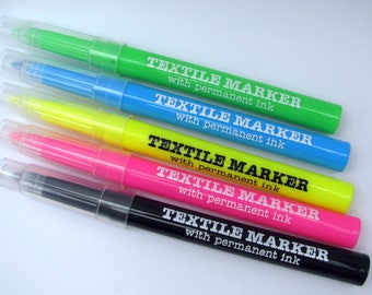 5 neon textile markers with permanent ink - fabric marker - neon colours