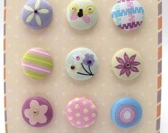 Buttons - brads - tissue - fabric - flowers - butterfly - set of 9 buttons brads