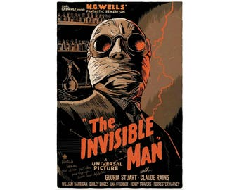 T-SHIRT: The Invisible Man / H G Wells - Classic T-Shirt & Ladies Fitted Tee - (LazyCarrot)