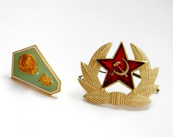 Military badge soviet army..soviet badge Graduation University..Set 2 soviet badge..USSR Military Star Cockade..Soviet military pin..