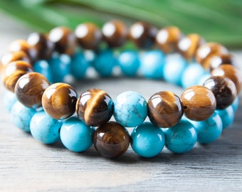 Brown Turquoise Couples Bracelets His and Hers Long Distance Relationship Matching Tiger Eye Bracelets Distance Bracelet Gay Couple Bracelet