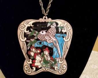 Vintage 1940s Big Exotic Looking Cloisonne Bird Statement Pendant with a Partial Abstract Design.