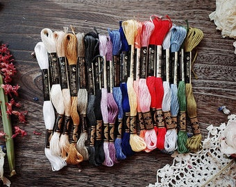 embroidery threads with 20 colors