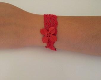 Red lace bracelet