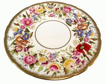 "Vintage Hammersley & Co, Queen Anne  Bone China  9 1/2"" Dinner Plate - Gold Gilt, Chintz, Poppy Pattern 13166"