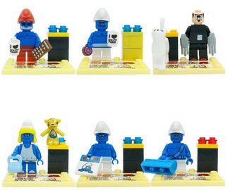 Batch of 6 Lego figures the Smurfs customized