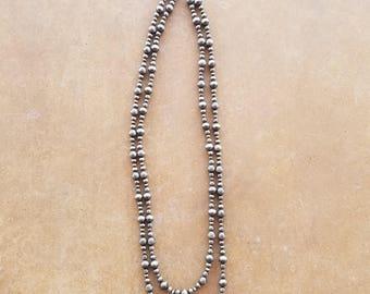 Silver Navajo Pearls Necklace
