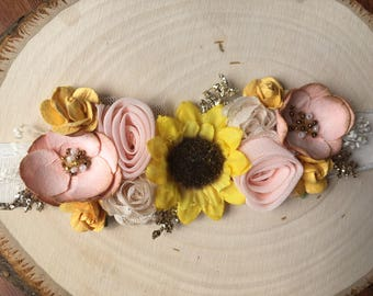 Pretty fall sunflower tie-back headband
