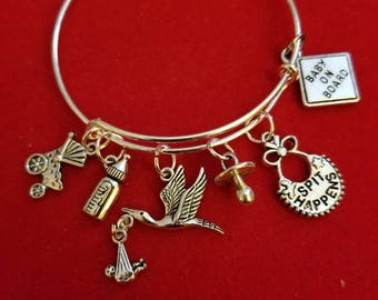 Silver Mommy To Be Themed Charm Bracelet