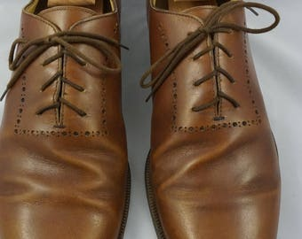 Gravati Oxford Plain Toe Brogue Men's 11M Brown Leather Shoes