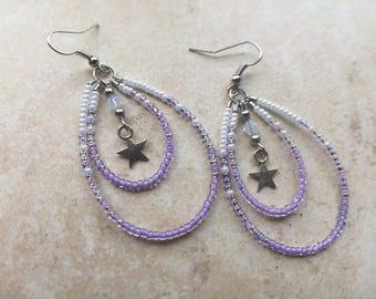 Seed bead Earrings, Teardrop Hoops, Purple earrings, dangling earrings, Silver Star Earrings, Beaded Hoops, Beaded Earrings, white earrings