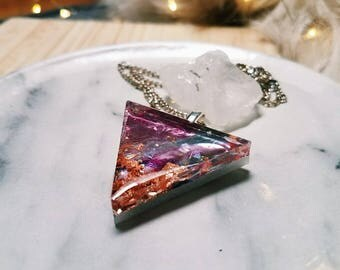 Holographic  Metallic Tipped Resin Triangle Pendant Necklace