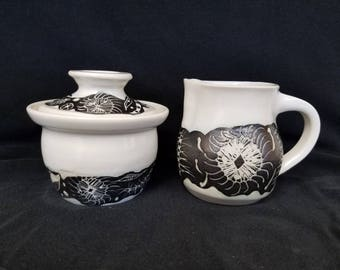 Hand Made Pottery Creamer and Sugar Bowl #2