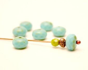 6 Turquoise beads, 9mm, round, pumpkin, Czech glass