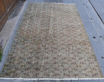 Unique Vintage Turkey Rug Floor Rug Natural Wool Free Shipping Rug 4.9 x 8.3 feet Home Decor Area Rug Decorative Bohemian Rug Carpet Code19