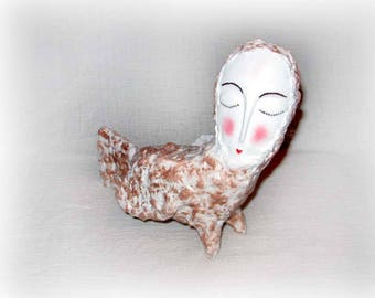 Decor figure Papier mache white bird Paper fantasy art sculptures OOAK statuette Original beautiful happy gift Fantasy decor decoration