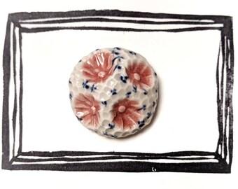 Rose/dark Blue Ceramic Brooch