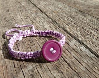 With a button (purple) conton wire macrame bracelet