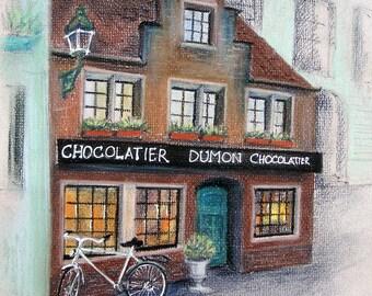 Original drawing, original painting, original graphics, old town, house drawing, Brussel, gift, wall art, chocolatier, street drawing