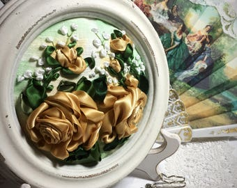Ribbon Embroidery in Round Frame