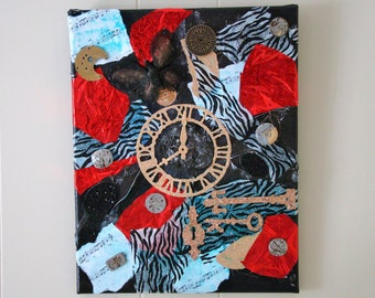 A time to create is a mixed media collage featuring a large clock face and watch parts #mixedmediacollage #clockart #watchpartsart #wallart