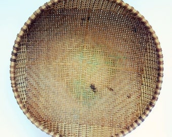 Large Woven Basket, Vintage Wall Decor